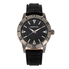 Morphic M85 Series Canvas-Overlaid Leather-Band Watch - Gunmetal/Black MPH8505