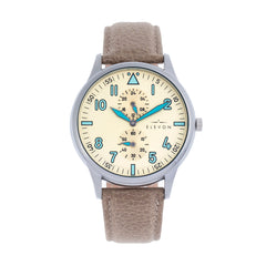 Elevon Turbine Leather-Band Watch - Silver/Tan ELE116-3