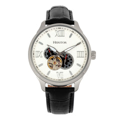 Heritor Automatic Harding Semi-Skeleton Leather-Band Watch - Silver/White