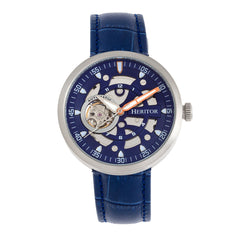 Heritor Automatic Jasper Skeleton Leather-Band Watch - Silver/Blue