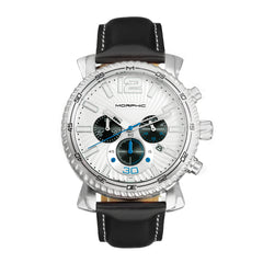 Morphic M89 Series Chronograph Leather-Band Watch w/Date - Black/White