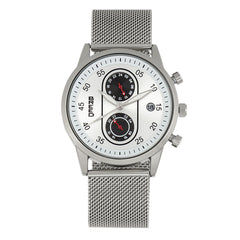 Breed Andreas Mesh-Bracelet Watch w/ Date - Silver