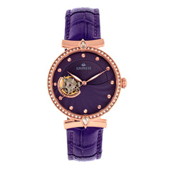 Empress Edith Semi-Skeleton Leather-Band Watch - Purple EMPEM3305