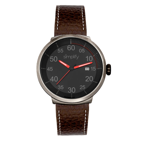 Simplify The 7100 Leather-Band Watch w/Date - Dark Brown/Red SIM7106