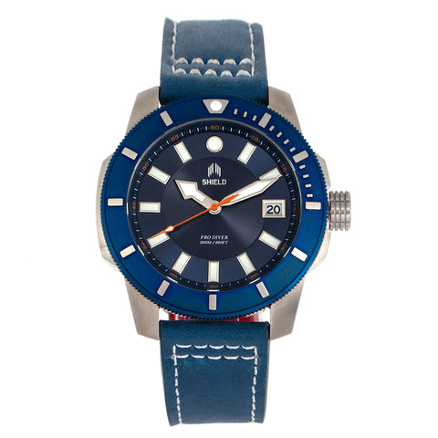 Shield Shaw Leather-Band Men's Diver Watch w/Date - Silver/Blue SLDSH106-3