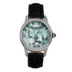 Empress Augusta Automatic Mosaic Mother-of-Pearl Leather-Band Watch - Silver/Black
