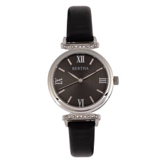 Bertha Jasmine Leather-Band Watch - Black