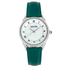 Sophie and Freda Mykonos Mother-Of-Pearl Leather-Band Watch - Teal