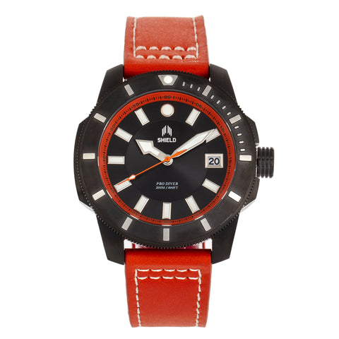 Shield Shaw Leather-Band Men's Diver Watch w/Date - Black/Orange SLDSH106-6