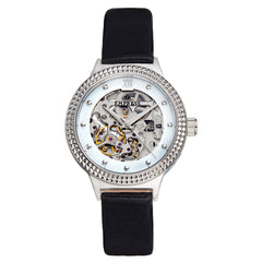 Empress Alice Automatic MOP Skeleton Dial Leather-Band Watch - Black