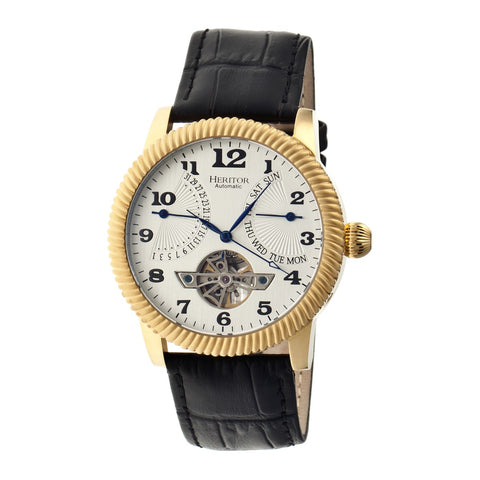 Heritor Automatic Piccard Semi-Skeleton Leather-Band Watch - Gold/Silver HERHR2003