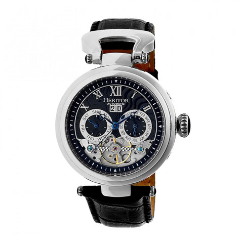 Heritor Automatic Ganzi Semi-Skeleton Leather-Band Watch - Silver/Black HERHR3302