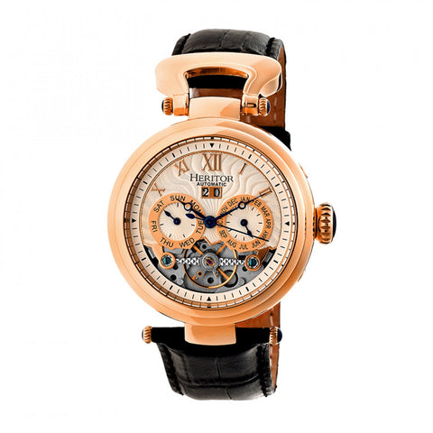 Heritor Automatic Ganzi Semi-Skeleton Leather-Band Watch - Rose Gold/Silver HERHR3305