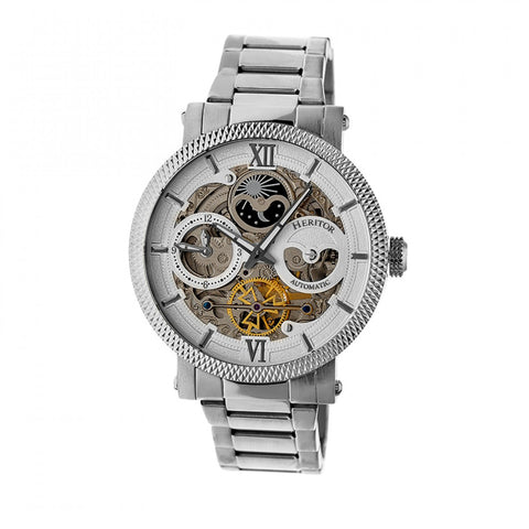 Heritor Automatic Aries Skeleton Dial Bracelet Watch - Silver/White HERHR4401