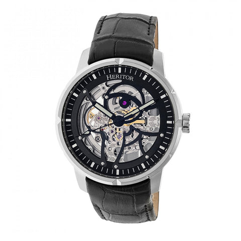 Heritor Automatic Ryder Skeleton Leather-Band Watch - Black HERHR4602