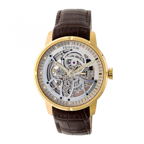 Heritor Automatic Ryder Skeleton Leather-Band Watch - Brown/Gold HERHR4605