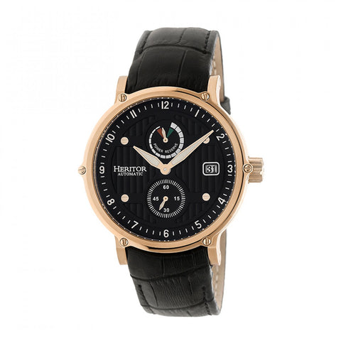 Heritor Automatic Leopold Leather-Band Watch w/Date - Rose Gold/Black HERHR4707