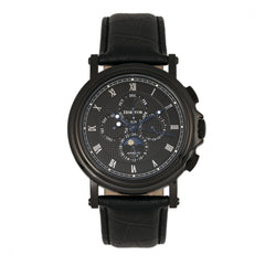 Heritor Automatic Kingsley Leather-Band Watch w/Day/Date - Black