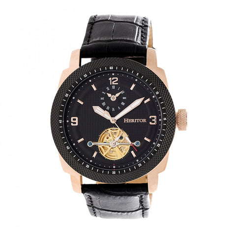 Heritor Automatic Helmsley Semi-Skeleton Leather-Band Watch - Rose Gold/Black HERHR5009