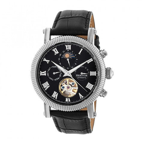 Heritor Automatic Winston Semi-Skeleton Leather-Band Watch - Silver/Black HERHR5202
