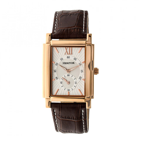 Heritor Automatic Frederick Leather-Band Watch - Rose Gold/Silver HERHR6104