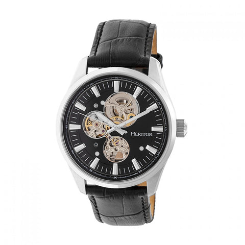 Heritor Automatic Stanley Semi-Skeleton Leather-Band Watch - Silver/Black HERHR6504