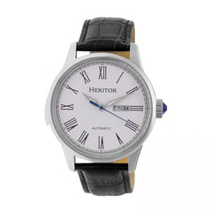 Heritor Automatic Prescott Leather-Band Watch w/ Day/Date - Silver