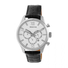 Heritor Automatic Benedict Leather-Band Watch w/ Day/Date - Silver