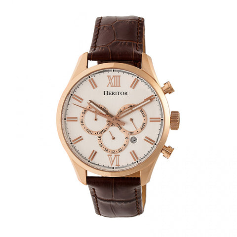 Heritor Automatic Benedict Leather-Band Watch w/ Day/Date - Rose Gold/Silver HERHR6804