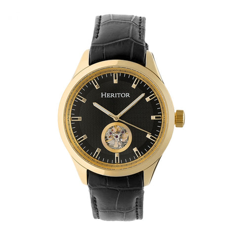 Heritor Automatic Crew Semi-Skeleton Leather-Band Watch - Gold/Black HERHR7006