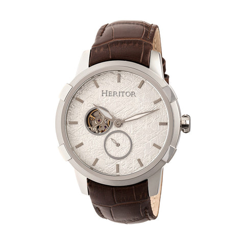 Heritor Automatic Callisto Semi-Skeleton Leather-Band Watch - Silver HERHR7203