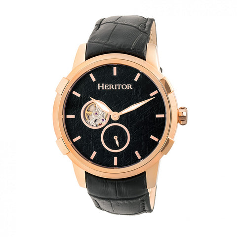 Heritor Automatic Callisto Semi-Skeleton Leather-Band Watch - Rose Gold/Black HERHR7205