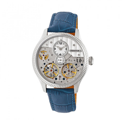 Heritor Automatic Winthrop Leather-Band Skeleton Watch - Silver/Blue HERHR7303