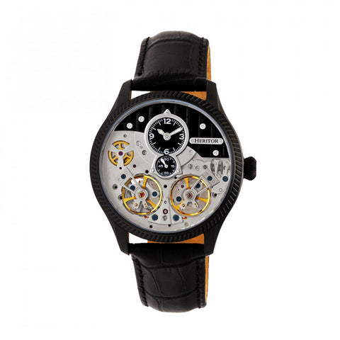Heritor Automatic Winthrop Leather-Band Skeleton Watch - Black HERHR7306