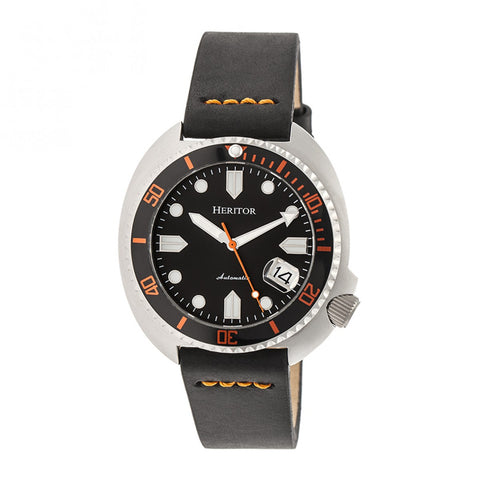 Heritor Automatic Morrison Leather-Band Watch w/Date - Silver/Black-Orange HERHR7602