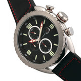 Morphic M64 Series Chronograph Leather-Band Watch w/ Date - Silver/Black MPH6402