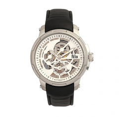 Reign Matheson Automatic Skeleton Dial Leather-Band Watch - Silver/Silver/Black