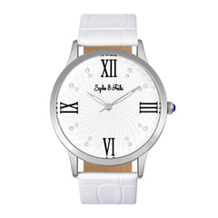 Sophie & Freda Sonoma Leather-Band Watch w/Swarovski Crystals - Silver/White