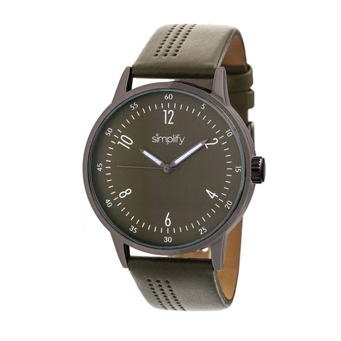 Simplify The 5700 Leather-Band Watch - Olive SIM5707