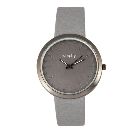 Simplify The 6000 Leather-Band Watch - Gunmetal/Grey