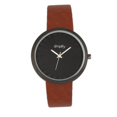Simplify The 6000 Leather-Band Watch - Black/Light Brown