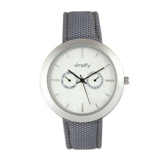 Simplify The 6100 Canvas Overlay Strap Watch - White/Grey