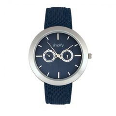 Simplify The 6100 Canvas Overlay Strap Watch - Blue