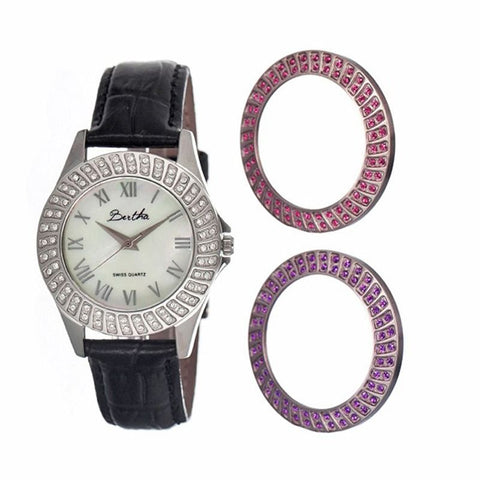 Bertha Audrey MOP Leather-Band Ladies Watch - Silver BTHBR701