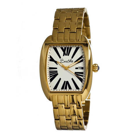 Bertha Anastasia Ladies Bracelet Watch w/Date - Gold/White BTHBR1303