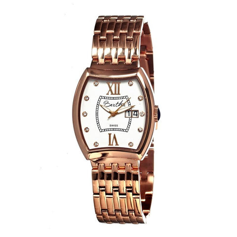 Bertha Charlotte Ladies Swiss Bracelet Watch - Rose Gold/White BTHBR3105