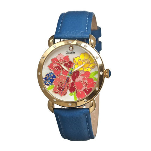 Bertha Angela MOP Leather-Band Ladies Watch - Gold/Blue BTHBR3602