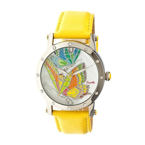 Bertha Isabella MOP Leather-Band Ladies Watch - Silver/Yellow BTHBR4301