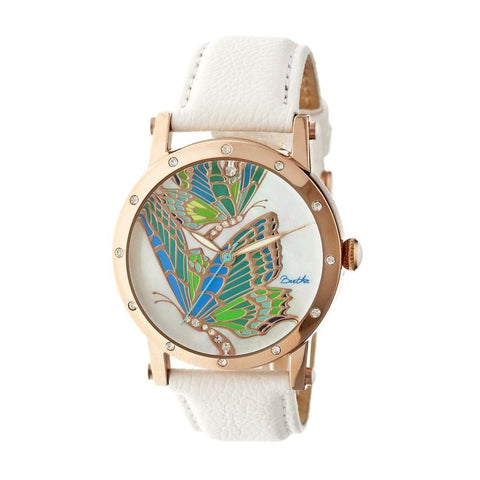 Bertha Isabella MOP Leather-Band Ladies Watch - Rose Gold/White BTHBR4304