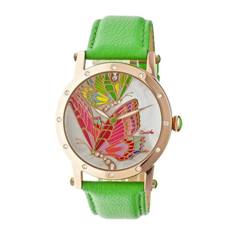 Bertha Isabella MOP Leather-Band Ladies Watch - Rose Gold/Green BTHBR4305